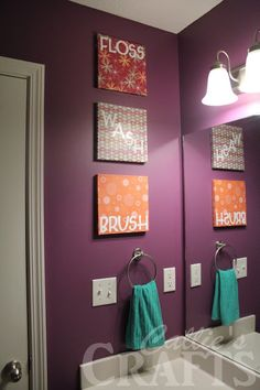 bathroom art, brush, floss, wash, flush, modpodge, 10x10canvas,purple paint... so cute!