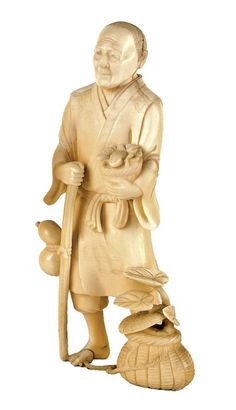 A Japanese Meiji period carved ivory figure of a farmer, he stands with a frog to the top of his basket held in his left hand, a staff with gourd attached to his right, a basket to his left foot from which a plant extends. Height 15.5 cm. Small old repair to his right foot