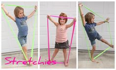 Making shapes. Encourages muscle control and body awareness and dynamic balance.