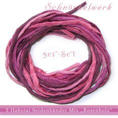 "5er-Set Seidenbänder Mix ""Rosenholz""  von Schnörkelwerk auf DaWanda.com"
