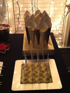 Hollywood theme party - popcorn cones and popcorn cake pops