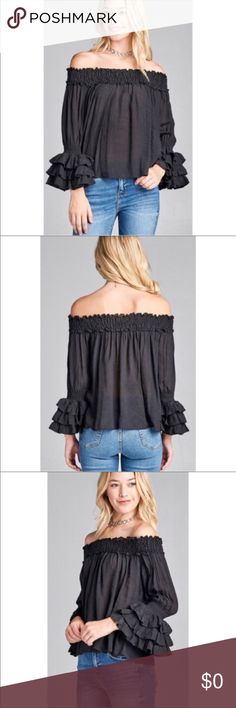 Black Ruffled off shoulder top Gorgeous off shoulder long sleeve ruffled top. Material is 60% rayon and 40% polyester. Please ask any questions you may have and thank you for looking 😀 Couture Gypsy Tops Blouses