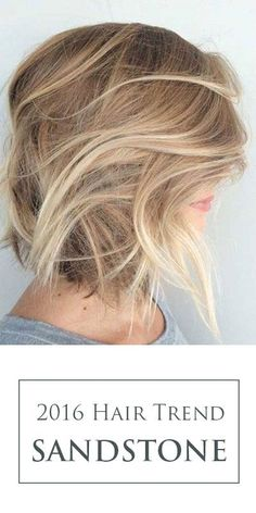 The perfect blonde hair color idea for 2016! Sandstone is a beige blonde with natural looking roots for a gorgeous 'lived-in'look (thanks, balayage)! Inspired by windswept sands with soft shadowing and ripples of color!: