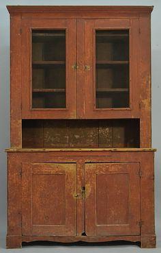 19th century stepback cupboard