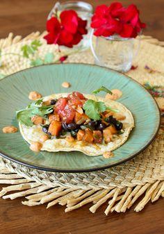 Sweet Potato, Poblano, and Black Bean tacos #vegetarian #hearthealthy
