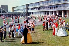 Students are dressed in their red and white and blue and gold colors for CASHS Color Day in this photo taken in 1964 on the school grounds between the cafeteria and the football field. CASHS PHOTO