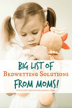 BIG list of bedwetting solutions and helps frmo moms just like you! You and your child don't have to be on this journey alone! Check out these tips that work -- and encouragement when nothing works! #bedwettingsolutions #parenting #bedwetting #helpformoms