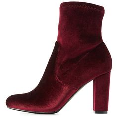 Charlotte Russe Velvet Sock Booties ($20) ❤ liked on Polyvore featuring shoes, boots, ankle booties, wine, charlotte russe, high ankle booties, velvet boots, wine boots and ankle length boots