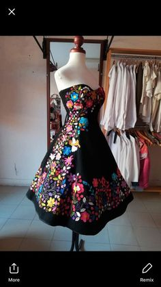 one of a kind mexican embroidered dress - Apartment Balcony Decorating mexican dresses Mexican Theme Dresses, Quince Dresses Mexican, Mexican Quinceanera Dresses, Mexican Outfit, Quinceanera Cakes, Dama Dresses, 15 Dresses, Fashion Dresses, Charro Dresses