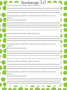 vocabulary word exchange freebie