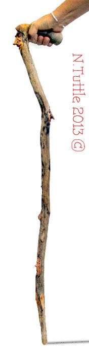 ORIGINAL WOOD SPIRIT CARVINGS on WALKING STICK / CANE  OOAK by NANCY TUTTLE