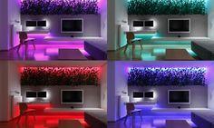 Do bytu sme navrhli farebné RGB ledky, ktoré dokážu prefarbiť interiér do ľubovoľnej zo 16,7 milióna farieb. Led pásy sme umiestnili do všetkých miestností tak, aby dokázali rovnomerne nasvietiť celý interiér do zvoleného farebného odtieňu. Ledky sme umiestnili do odskokov v podhľade zo sádrokartónu aj pod časti nábytku na konzolách.
