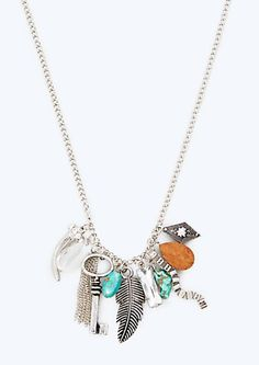 image of Turquoise Horn Charm Necklace
