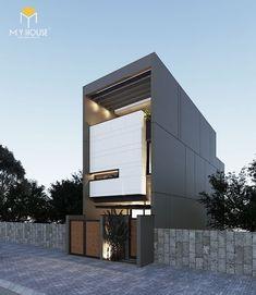 Mẫu nhà đẹp 3 tầng 5x12m đẹp +64 Phối cảnh & Bản vẽ thiết kế 2019 Duplex House Design, House Front Design, Small House Design, Modern House Design, Minimalist Architecture, Facade Architecture, Residential Architecture, Villa Design, Facade Design