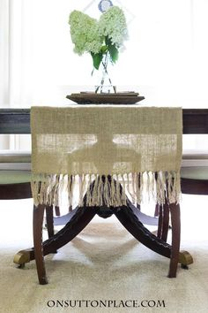 DIY Burlap Table Runner with Tassels | Easy, no sew step-by-step tutorial with pictures. Great for cottage, farmhouse or vintage style decor.