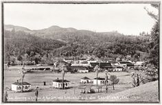 Samuel Brannan resort cottages with Calistoga beyond, 1913.