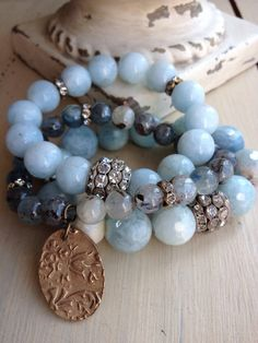 Items similar to Aquamarine gemstone spring/summer pastel blue semi precious rhinestone glam layering bracelet on Etsy Layered Bracelets, Gemstone Bracelets, Handmade Bracelets, Jewelry Bracelets, Handmade Jewelry, Pandora Bracelets, Bracelet Set, Bangles, Stone Jewelry