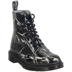Dr. Martens Women's Patent Marble Pascal Combat Boot ($125) ❤ liked on Polyvore featuring shoes, boots, ankle booties, black, black lace up ankle booties, lace up combat boots, lace up booties, lace up boots and combat booties