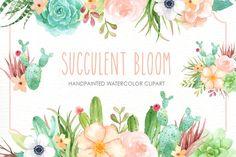 Succulent Bloom Watercolor Cliparts - Illustrations