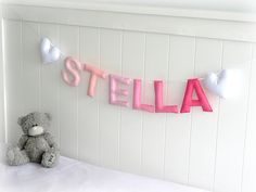 Personalized felt name banner - custom made wall art nursery decor - made to match bedroom colors - nursery decor - ombré
