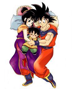 Goku, Gohan, and Chichi