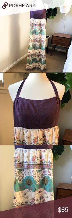 Anthropologie Maxi Purple Cotton Halter Sz 8. Anthropologie MAEVE Skoura Idyll Maxi Dress Purple Tree Silk Cotton Halter Sz 8.  Absolutely beautiful and sold out.  Originally $298.  Silk halter strap and the maxi portion is cotton.  Boho chic.  Perfect for any occasion.  Love love love this dress!  Elastic / stretchable back as shown in photo. Anthropologie Dresses Maxi