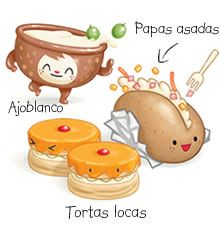 """A raíz de esta ilustración del libro infantil """"Oh! Málaga"""", podemos introducir a los niños y niñas en la cultura malagueña, concretamente en la gastronomía."""