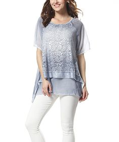 Simply Couture Blue Rose Lace-Overlay Scoop Neck Top   zulily