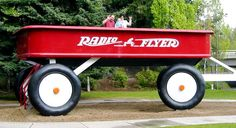 Artist Ken Spiering created the world's largest radio flyer wagon in Spokane, Washington.