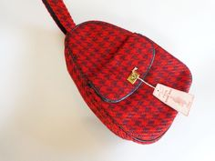 Offers accepted, mail to: vanityflairvintage@gmail.com   http://www.rubylane.com/item/676693-AC61/Purse-Red-Houndstooth-Vintage-1960s