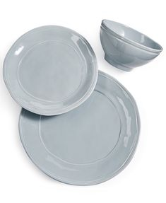 Viva by Vietri Fresh Collection Place Setting - Gray Plated Reviews, Blue Dinnerware, Best Wedding Gifts, Fine China, Place Settings, Household Items, Dinner Plates, 3 Piece, Stoneware