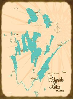 Belgrade Lakes, ME Map Wood Sign. Our 1950's style maps look fantastic on these vintage-inspired slatboard wood or metal signs. Choose your material and dimension. They will look great in your home or cabin, and they make great gifts! Comes ready to hang with a sawtooth hook on the back. A note on production: We work with a sign maker in Montana where all of our products are made-to-order. Production time for signs is typically 10-12 business days, and can be longer during summer and the...