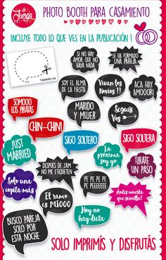 Photo Booth Casamiento Imprimible 20 Frases Props - $ 16,50