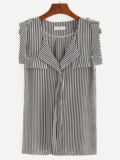Black White Vertical Striped Sleeveless Blouse