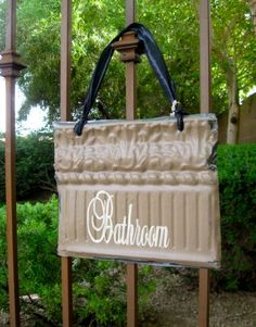 BATHROOM Sign made with Antique Ceiling Tin Tile by JoyFrameworks, $37.00