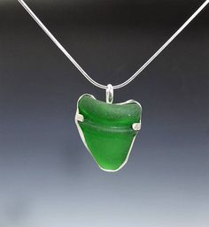 Authentic Green Sea Glass Necklace, Kelly Green Sea Glass Pendant, Green Seaglass Necklace by elunajewelry. Explore more products on http://elunajewelry.etsy.com