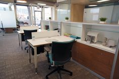 Modern, open office design by Hatch Interior Design, Kelowna, BC. Global Floorplay furniture highlighted here.