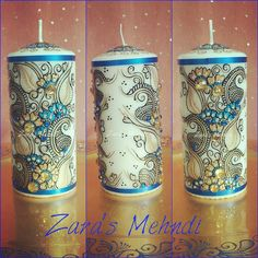 """37 Likes, 2 Comments - Pro Makeup & Mehndi Artist (@zarasmehndigifts) on Instagram: """"Royal blue/gold customised candle ideal gift idea! May even be used as home decor. Can be…"""""""