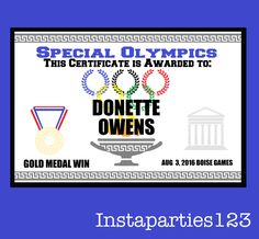 Special Olympics Award Certificate Editable Pdf Instant Download