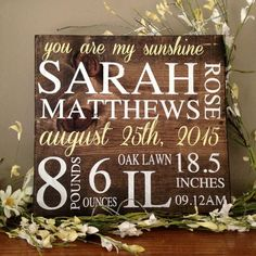Birth Announcement Sign, Wood Sign Birth Announcement, Baby Subway Art, Rustic Nursery Decor, Personalized Baby Sign, New Baby Announcement