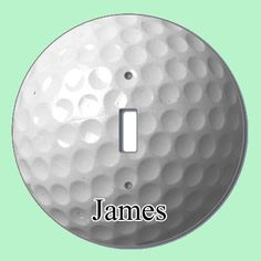"A fun accent for any kids room with a golf theme. 5"" round slight switch plate is printed with a golf ball design and can be personalized with a name.  $9.99"