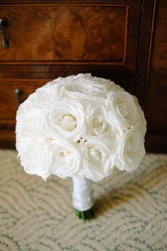 Such a classic, gorgeous bouquet! Perfect for this Ritz Carlton Palm Beach wedding White Rose Bouquet, Rose Wedding Bouquet, White Wedding Bouquets, Bride Bouquets, Bridesmaid Bouquet, White Roses, White Flowers, Exotic Flowers, Yellow Roses