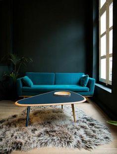 mur en bleu foncé, tapis en peau d animal, parquet clair, fenetre grande