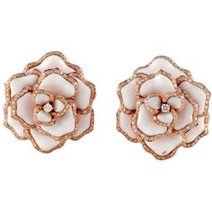 Preowned Rose Gold Flower Earrings ($7,900) ❤ liked on Polyvore featuring jewelry, earrings, accessories, jewels, brincos, red, flower jewellery, pink gold earrings, rose gold jewelry and red earrings