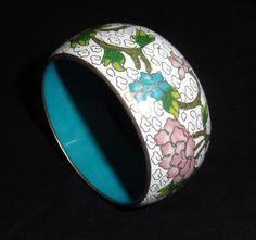 Wide White Cloisonne Enamel Metal Bangle Bracelet