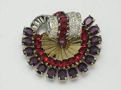 MAZER Jewelry Vintage 1940's Rhinestone Gold Plated Rhodium Fur Clip Pin