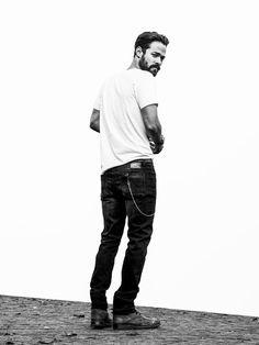 Denham, black and white, jeans, white shirt