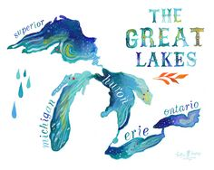 The Great Lakes by Katie Daisy:Michigan, Superior, Huron, Ontario, Erie, (62,798) Thunder, Gun, Murphy, Big Pine Island, Morrison, Campbell, Reed, Silver, Green, Leach, Indian Spring,