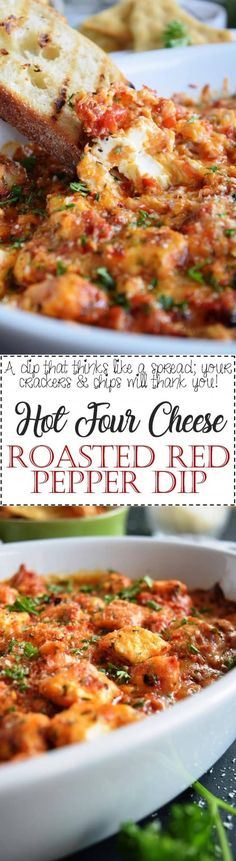 There's no doubt that Hot Four Cheese Roasted Red Pepper Dip will become your favourite dip of all time – four cheeses, smokey and roasted flavour, gooey and creamy, and oh so delicious! Get snackin'! This dip literally made me weak… Quick Appetizers, Easy Appetizer Recipes, Appetizers For Party, Vegetarian Recipes, Healthy Recipes, Dip Recipes, Delicious Recipes, Roasted Red Pepper Dip, Clean Eating Snacks
