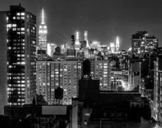 New York Photography - Manhattan Skyline at Night, Empire State Building, Chrysler Building, NYC Water Towers, black and white - 8x10 photo